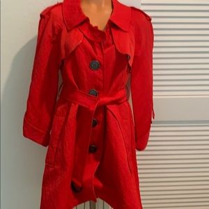 Red long lightweight lined jacket worn once a/belt